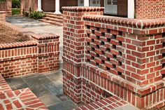When is a wall more than just a wall? When it's built with brick. This perforated brick wall features a Flemish bond pattern, special shape brick and a soldier course accent band. http://insistonbrick.com/