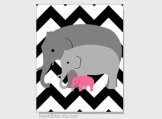 Chevron Elephant Family 8x10 Print, You Choose the Background Pattern and Colors, Perfect Gift for a Nursery or New Moms Baby Shower via Etsy