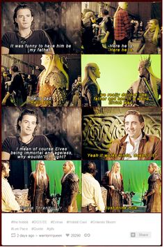 Lee and Orlando Talking about being elvish father and son (Gif set) / The Hobbit cast /Legolas / Thranduil