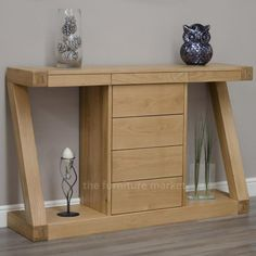 Z Oak Designer Console Table With Drawers