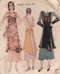 Vintage apron pattern with apron as a fashion item. Note the details and asymmetric hem similar to the apron dress of today. This is circa McCall Pattern 1905 Vintage Apron Pattern, Retro Apron, Aprons Vintage, Vintage Sewing Patterns, Apron Patterns, Pattern Sewing, Vogue Patterns, Mccalls Patterns, Bib Apron