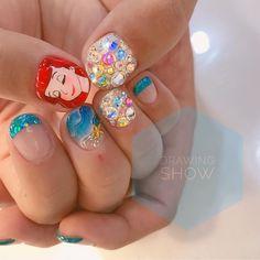 Pop Art Nails, Nail Art Diy, Nail Swag, Cute Nails, Pretty Nails, Little Mermaid Nails, Anime Nails, Nail Art For Kids, Korean Nail Art