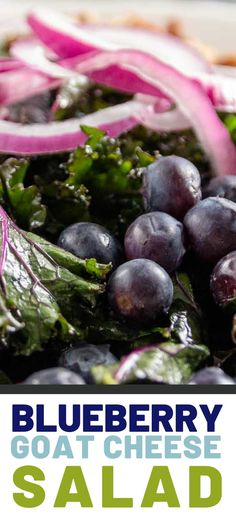 Blueberry Goat Cheese Salad is a perfect spring and summertime recipe. Made with fresh blueberries, Salad Recipes Gluten Free, Gluten Free Meal Plan, Kale Salad Recipes, Snack Recipes, Easy Recipes, Appetizer Recipes, Free Recipes, Healthy Recipes, Healthy Salads