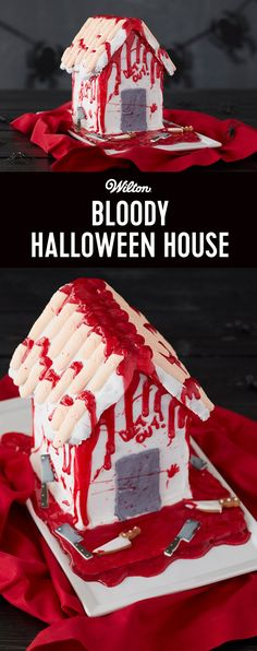 How to Make a Bloody Halloween House - Get ready to shock your guests with a blood-curdling Halloween gingerbread house centerpiece. This gruesome design is easy to create using Wilton® products—the assembled Halloween Cookie House Kit, White Pouch Icing, Black Icing Color, Blood Red Sparkle Gel™ and Knife and Bloody Axe Icing Decorations.
