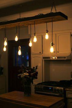 9 Bulbs Edison chandelier Salvage lumber wood par VintageAmpFunk