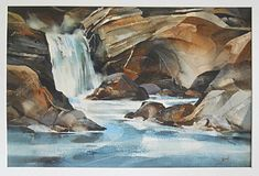 Vintage Painting Rocky Waterfall Landscape Folk Cubist Watercolor Moderne Kinel  | eBay Cubist Paintings, Mount Rushmore, Waterfall, Folk, Watercolor, Mountains, Landscape, Nature, Ebay
