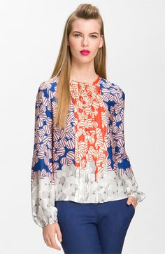 AMAZING PRINT AND MY TWO FAVE COLORS! - Diane von Furstenberg 'Novalee' Silk Blouse | Nordstrom