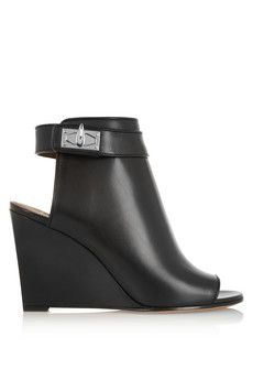Givenchy Shark Lock cutout ankle boots in black leather | NET-A-PORTER
