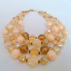 Vintage West Germany Multi Strand Glass Bead Necklace by BorrowedTimes on Etsy