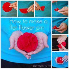 How to make a felt rosette flower pin via @TidyMom