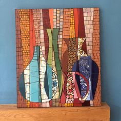 Overlapping Pots 2 by Sophie Robins Mosaics Paper Mosaic, Mosaic Vase, Mosaic Diy, Mosaic Crafts, Mosaic Projects, Mosaic Tiles, Mosaic Artwork, Mosaic Wall Art, Mosaic Designs