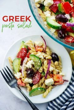 This Greek Pasta Salad is a family favorite! It's packed with fresh veggies, kalamatta olives, and chunks of feta. The homemade dressing is so easy and so perfect. #pasta #salad #greek #recipe Greek Salad Pasta, Soup And Salad, Easy Pasta Recipes, Pasta Salad Recipes, Easy Cooking, Cooking Recipes, Oven Recipes, Vegetarian Cooking, Recipies