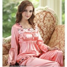 Women Silk Round Neck Short Sleeve Pajamas Set 2Pcs | Pajamas ...