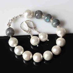perły w szarościach prezent dla Mamy. Efektowny komplet wykonany z pereł Seashell  labradorytu  i srebra w KuferArt.pl