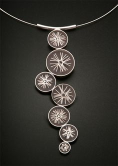 """Evening Stars"" pendant by Carle Pennie - Fine silver forms set in resin. Silver bezel, cable choker"