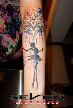 Tattoo Ballerina with watercolor mandala in Seven Tattoo Leiria