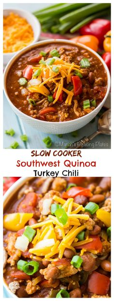 Slow Cooker Southwest Quinoa Chili This Slow Cooker Southwestern Quinoa Chili is full of fiber, lean protein and hearty seasonings! A variety of beans, lean ground turkey and nutty quinoa make this a healthy weeknight meal you'll want again and again. Crock Pot Slow Cooker, Crock Pot Cooking, Slow Cooker Recipes, Crockpot Recipes, Cooking Recipes, Chili Recipes, Soup Recipes, Vegetarian Recipes, Dinner Recipes