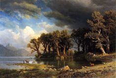 The Coming Storm: 1869 by Albert Bierstadt (Addison Gallery of American Art - Andover, MA) - Hudson River School Classical Art Memes, Oil Canvas, Canvas Art, Canvas Prints, Framed Prints, Landscape Art, Landscape Paintings, Acrylic Paintings, Oil Paintings
