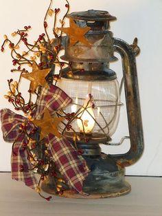 Country, Primitive Decor, Antique Railroad Oil Lantern(electric) is part of Rustic Fall decor - Prim Decor, Rustic Decor, Farmhouse Decor, Primitive Decorations, Antique Decor, Primitive Country Decorating, Rustic Christmas Decorations, Rustic Americana Decor, Primitive Country Crafts