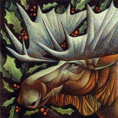 Artodyssey: Sara Tyson Graphic Design Illustration, Illustration Art, Animal Illustrations, Moose Pictures, Deer Art, Surrealism Painting, Christmas Art, Christmas Design, Xmas