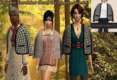 Tweed Shoulder Coat (Accessory) for The Sims 2 (TS2)
