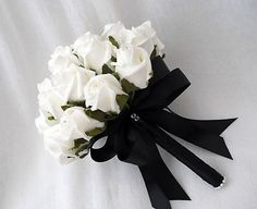 WEDDING FLOWERS - POSY BOUQUET IN IVORY ROSES & BLACK RIBBON BRIDES, BRIDESMAIDS