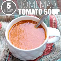Looking for a basic tomato soup recipe? Well, here it is! Tomatoes, broth and. that's pretty much it. Plus, it takes less than 5 minutes to make! Easy Tomato Soup Recipe, Vegan Recipes Easy, Easy Meals, Healthy Eating, Favorite Recipes, Homemade, Desserts, Trees, Tomatoes