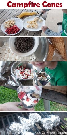 Camp Fire Food: Fruit & Smore Cones --- I can't wait for summer! - rugged-life.com