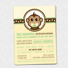 Little Monkey Baby Shower Invitation Printable, Modern, Preppy, Gender Neutral Boy Girl Yellow and Green, DIY Digital File  www.OhCreativeOne.etsy.com