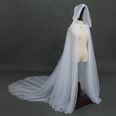 Blessume Bridal Hooded Cloak Long Back Wedding Cape with Hood Long Cloak Wedding Cape Veil, Bridal Cape, Wedding Dresses, Wedding Wear, Wedding Bride, Wedding Stuff, White Cloak, White Cape, Tulle Material