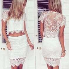 White Lace Crop Top, Lace Crop Tops, Two Piece Homecoming Dress, Homecoming Dresses, Prom Dress, Bodycon Dress, Pink High Low Dress, Lace Dress, Dress Up