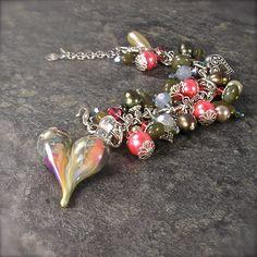 Lampwork Heart Bracelet in Salmon Pink and by XannasJewelryBox, $59.00