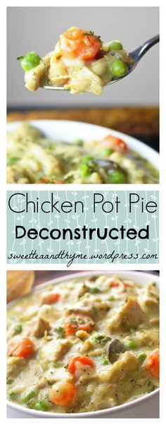 Don't have individual ramekins or oven-safe soup bowls? Why bake a huge crust that gets covered in filling and gets all soggy and takes forever to bake up on a big dish? Chicken Pot Pie, Deconstructed takes only 30 minutes with a delicious flaky puff puff pasty crust for everyone to have individually.