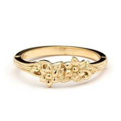 Vintage Floral Wedding Band in 14k Yellow Gold by Juliet&Oliver