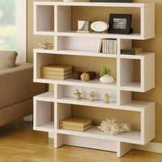 Hokku Designs Celio Three-Tier Bookcase / Display Cabinet in Matte White $249