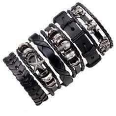 Buy Punk Rock Skull Star Multi Charm Bracelet For Women Men Gothic Jewelry Braided Rope Leather Bracelet Men Skeleton Bracelet, Hand Bracelet, Skull Bracelet, Bracelet Set, Bangle Set, Layered Bracelets, Bracelets For Men, Fashion Bracelets, Wrap Bracelets