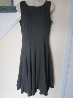 Calvin Klein Gray Sleeveless Fit & Flare Ponte Knit Knee Length Work/Office Dress Size 8 (M) off retail Grey Knit Dress, Knit Cardigan, Burgundy Leather Jacket, Office Dresses, Herringbone Pattern, Calvin Klein Dress, Flare Skirt, The Ordinary, Fit And Flare