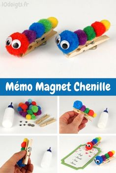 To make a Memo magnet caterpillar is easy: paste some colorful pompons on a clothespin, paste 2 mobile eyes on the first tassel and paste a magnet on the back of the clothespin 🙂 Source by dixdoigts Popsicle Stick Crafts, Craft Stick Crafts, Diy Crafts For Kids, Easy Crafts, Wood Crafts, Diy Christmas Decorations Easy, Diy Christmas Ornaments, Pipe Cleaner Crafts, Diy Magnets
