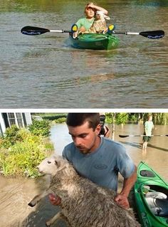 The people who rescued a sheep from a flood in a kayak.
