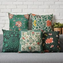 Ikea  45X45cm Vintage Green Floral Pillow Case Cushion Cover  Decor Home Creative decorative throw pillows Cover (China (Mainland))