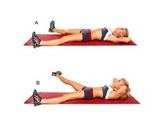 INNER THIGH CRUNCH LIFT Lie faceup with legs extended in a wide split, toes pointing up and hands resting lightly on back of head(A). Rot...