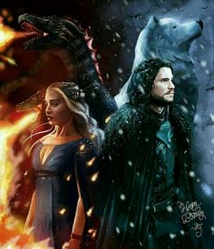 Jon Snow and Daenerys Targaryen Game of Thrones A Song of Ice and Fire by Hadas Gold Winter Is Here, Winter Is Coming, Jon Schnee, Arte Game Of Thrones, Game Of Trones, Diamond Drawing, Diamond Art, Kino Film, Iron Throne