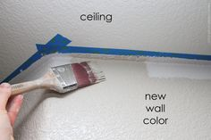 How to Get a Perfect Line | I don't know about Method 2, running a line of clear caulk along your tape, but Method 1, overpainting the ceiling paint so that seeps under the tape, stopping the wall color from seeping, is brilliant!