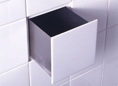 *Storage Tips* I really like my secrets. Hiding spots I like even more. Here are 22 hiding places you can make inside your own house. Small Bathroom Tiles, Bathroom Storage, Small Bathrooms, Bathroom Drawers, Wall Storage, Kitchen Tiles, Bathroom Wall, Kitchen Storage, Kitchen Backslash