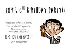 Paper invites will be printed on paper (this is standard thin printing paper) and will need to be folded to fit into envelopes. I cannot print on coloured paper only white. Happy Birthday Balloon Banner, Birthday Party Decorations, Birthday Party Invitations, Invites, Birthday Parties, Mr Bean Cake, Mr Bean Birthday, Mr. Bean, Personalised Christmas Decorations