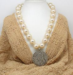 NECK 1 Fantastic secession style necklace with imitation of pearl beads by ClassOfGlass on Etsy