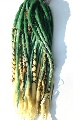 wool dreads sets - LAGOON - 32 tips green yellow deco wrapped mermaid dreadlocks