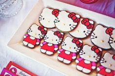 Hello Kitty Birthday Party Cookies! So cute! See the whole party on Kara's Party Ideas - www.KarasPartyIdeas.com