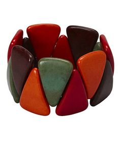 Orange & Red Triangle Stretch Bracelet by ZAD