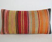 DECORATIVE PILLOW Decorative Throw Pillow Kilim Pillow Cover Turkish Cushion Lumbar pillow Case Bohemian Boho Outdoor decor colorful striped